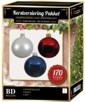 Complete kerstballen set 170x wit donkerblauw kerst rood voor 210 cm kerstboom kerstversiering