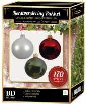 Complete kerstballen set 170x wit donkerrood donkergroen voor 210 cm kerstboom kerstversiering