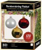 Complete kerstballen set 170x wit goud kerst rood voor 210 cm kerstboom kerstversiering