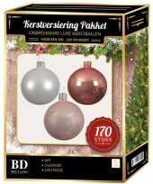 Complete kerstballen set 170x wit lichtroze oud roze voor 210 cm kerstboom kerstversiering