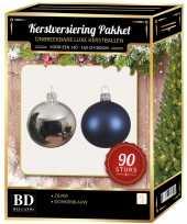 Complete kerstballen set blauw zilver voor 150 cm kerstboom kerstversiering