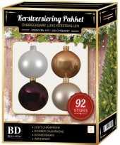 Complete kerstballen set champagne wit paars voor 150 cm kerstboom kerstversiering