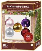 Complete kerstballen set gekleurd voor 120 cm kerstboom kerstversiering