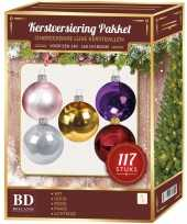 Complete kerstballen set gekleurd voor 150 cm kerstboom kerstversiering