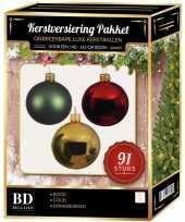 Complete kerstballen set goud donkergroen rood voor 150 cm kerstboom kerstversiering