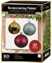 Complete kerstballen set goud donkerrood mintgroen voor 150 cm kerstboom kerstversiering
