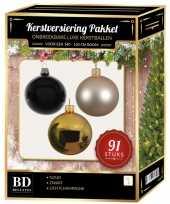 Complete kerstballen set goud licht champagne zwart voor 150 cm kerstboom kerstversiering