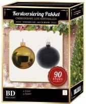 Complete kerstballen set goud zwart voor 150 cm kerstboom kerstversiering