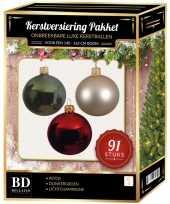 Complete kerstballen set licht champagne donkergroen rood voor 150 cm kerstboom kerstversiering