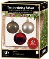 Complete kerstballen set licht champagne kasjmier bruin rood voor 150 cm kerstboom kerstversiering