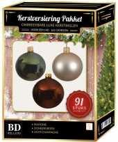 Complete kerstballen set licht parel champagne donkergroen mahonie bruin voor 150 cm kerstboom kerstversiering