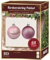 Complete kerstballen set lichtroze voor 120 cm kerstboom kerstversiering