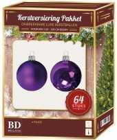 Complete kerstballen set paars voor 120 cm kerstboom kerstversiering