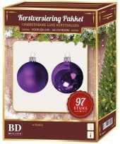 Complete kerstballen set paars voor 150 cm kerstboom kerstversiering