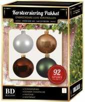 Complete kerstballen set wit beige bruin donkergroen voor 150 cm kerstboom kerstversiering