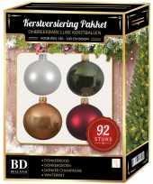 Complete kerstballen set wit beige donkerrood donkergroen voor 150 cm kerstboom kerstversiering