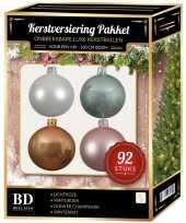 Complete kerstballen set wit beige mintgroen lichtroze voor 150 cm kerstboom kerstversiering