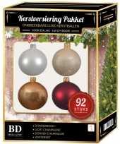 Complete kerstballen set wit champagne beige donkerrood voor 150 cm kerstboom kerstversiering