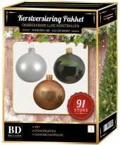 Complete kerstballen set wit donker parel champagne donkergroen voor 150 cm kerstboom kerstversiering