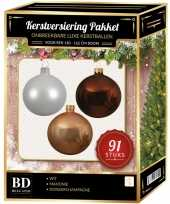 Complete kerstballen set wit donker parel champagne mahonie bruin voor 150 cm kerstboom kerstversiering