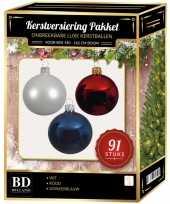 Complete kerstballen set wit donkerblauw rood voor 150 cm kerstboom kerstversiering