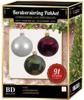 Complete kerstballen set wit donkerrood donkergroen voor 150 cm kerstboom kerstversiering