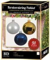 Complete kerstballen set wit goud donkerblauw voor 150 cm kerstboom kerstversiering