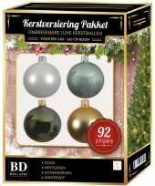 Complete kerstballen set wit goud donkergroen mintgroen voor 150 cm kerstboom kerstversiering