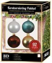 Complete kerstballen set wit goud ijsblauw bruin voor 150 cm kerstboom kerstversiering