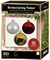 Complete kerstballen set wit goud kerst rood voor 150 cm kerstboom kerstversiering