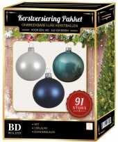 Complete kerstballen set wit ijsblauw donkerblauw voor 150 cm kerstboom kerstversiering
