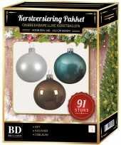 Complete kerstballen set wit ijsblauw kasjmier bruin voor 150 cm kerstboom kerstversiering