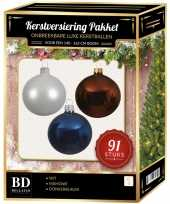 Complete kerstballen set wit mahonie bruin donkerblauw voor 150 cm kerstboom kerstversiering