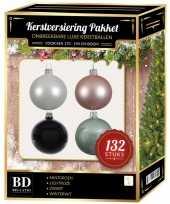 Complete kerstballen set wit mintgroen lichtroze zwart voor 180 cm kerstboom kerstversiering