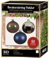 Complete kerstballen set zilver donkerblauw kasjmier bruin voor 150 cm kerstboom kerstversiering
