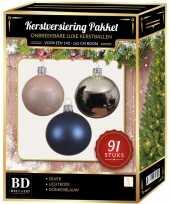 Complete kerstballen set zilver donkerblauw lichtroze voor 150 cm kerstboom kerstversiering