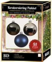 Complete kerstballen set zilver grijsblauw donkerblauw voor 150 cm kerstboom kerstversiering