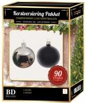 Complete kerstballen set zilver zwart voor 150 cm kerstboom kerstversiering