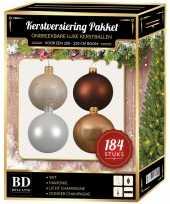 Complete luxe versiering set champagne wit bruin voor 210 cm kerstboom kerstversiering