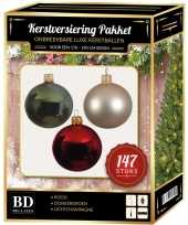 Complete luxe versiering set donkergroen licht parel rood voor 180 cm kerstboom kerstversiering