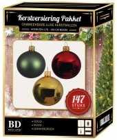 Complete luxe versiering set goud donkergroen rood voor 180 cm kerstboom kerstversiering