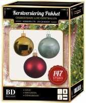 Complete luxe versiering set goud mintgroen donkerrood voor 180 cm kerstboom kerstversiering