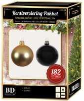Complete luxe versiering set goud zwart voor 210 cm kerstboom kerstversiering