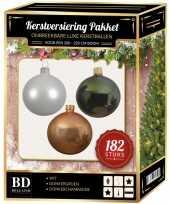 Complete luxe versiering set winter wit donker champagne donkergroen voor 210 cm kerstboom kerstversiering