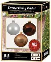Complete luxe versiering set winter wit donker champagne mahonie bruin voor 210 cm kerstboom kerstversiering