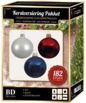 Complete luxe versiering set winter wit donkerblauw rood voor 210 cm kerstboom kerstversiering
