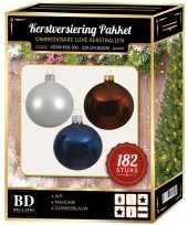 Complete luxe versiering set winter wit mahonie bruin donkerblauw voor 210 cm kerstboom kerstversiering