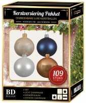 Complete luxe versiering set wit champagne donkerblauw voor 150 cm kerstboom kerstversiering