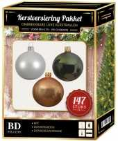 Complete luxe versiering set wit champagne donkergroen voor 180 cm kerstboom kerstversiering
