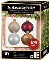 Complete luxe versiering set wit champagne donkerrood voor 150 cm kerstboom kerstversiering